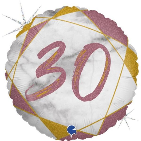 "Grabo Folienballon Marble Mate Zahl 30 Rund 46cm/18"""