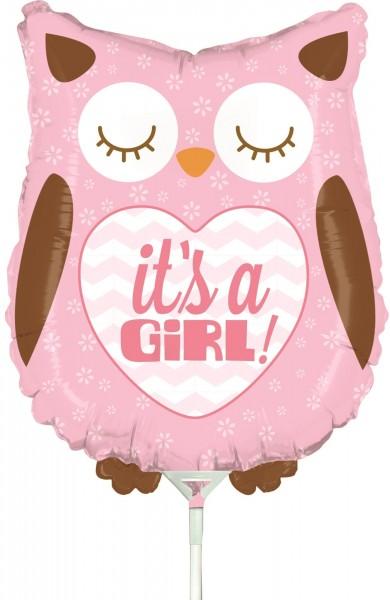"Betallic Folienballon Baby Girl Owl Mini 35cm/14"" luftgefüllt inkl. Stab"