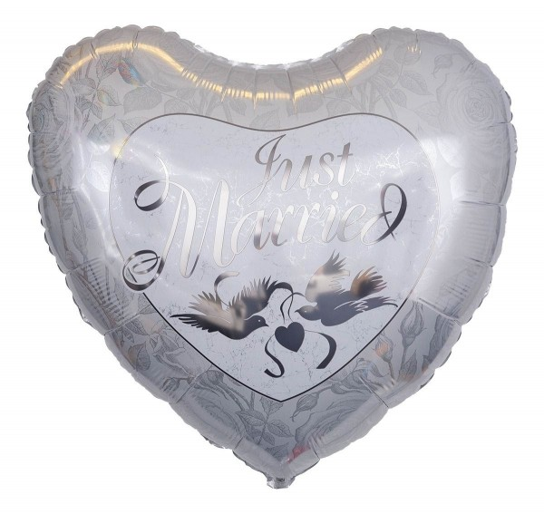 "Qualatex Folienballon ""Just Married"" Silber 90cm/3'"