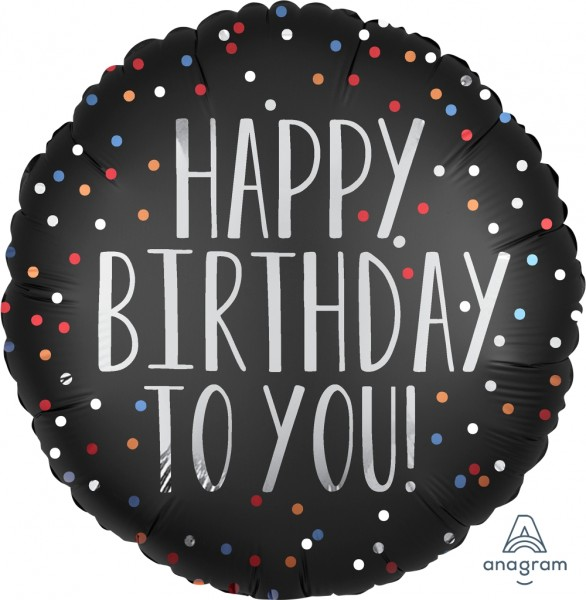 "Anagram Folienballon Rund Satin ""Happy Birthday Tou You"" Black & Dots 45cm/18"""