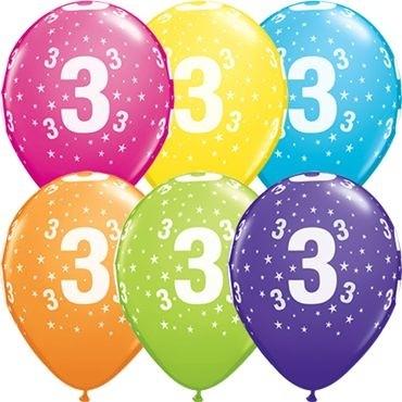 "Qualatex Latexballon Stars 3-A-Round Tropical Assortment 28cm/11"" 25 Stück"