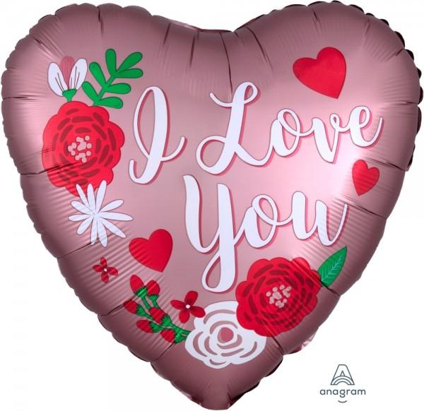"""Anagram Folienballon Satin Herz """"I Love You"""" Rose Kupfer 45cm/18"""""""