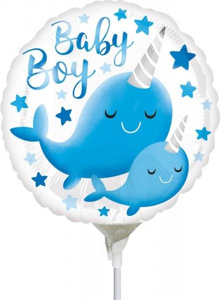 """Anagram Folienballon Narwhal Baby 23cm/9"""" luftgefüllt inkl. Stab"""