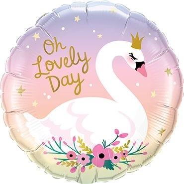 "Qualatex Folienballon Oh Lovley Day Swan 45cm/18"""