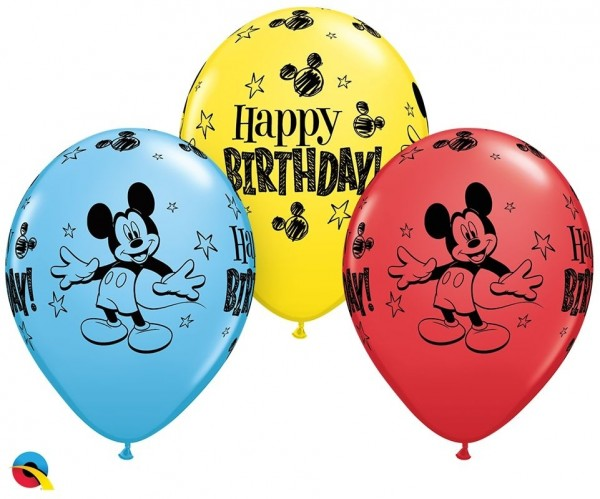 "Qualatex Latexballon Mickey Mouse Birthday Assortement 28cm/11"" 25 Stück"