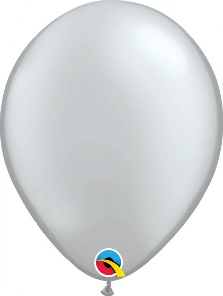 "Qualatex Latexballon Metallic Silver 28cm/11"" 100 Stück"