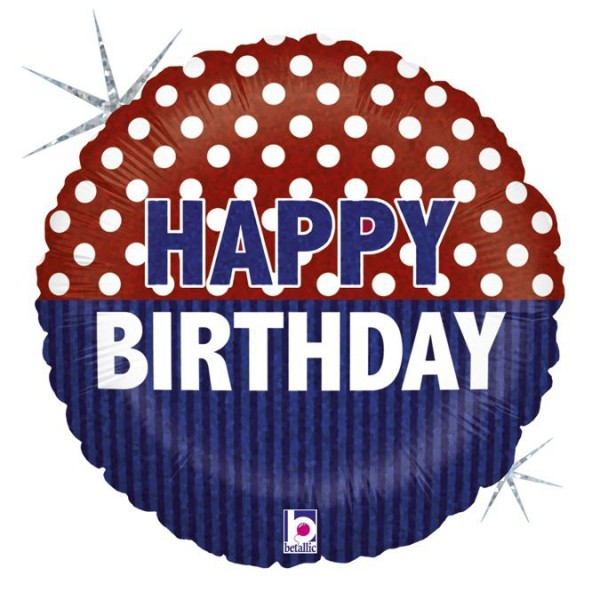 "Betallic Folienballon Happy Birthday Nautical Holo 45cm/18"""