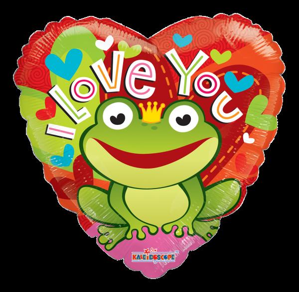 "Kaleidoscope Folienballon Herz ""I Love You - Froschkönig"" 90cm/36"""
