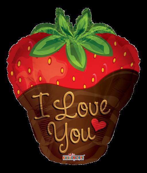 """Kaleidoscope Folienballon """"I Love You - Erdbeere"""" 45cm/18"""""""