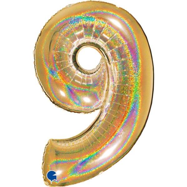 "Grabo Folienballon Zahl 9 Glitter Holographic Gold 100cm/40"""