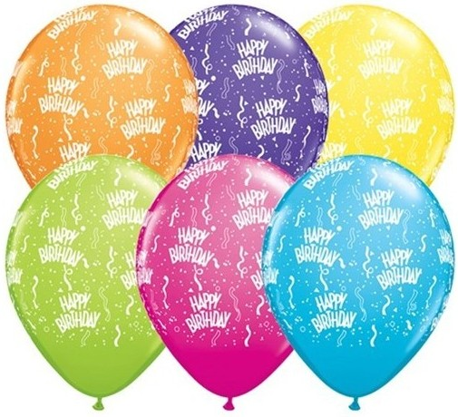 "Qualatex Latexballon Birthday-A-Round Tropical Assortment 13cm/5"" 100 Stück"