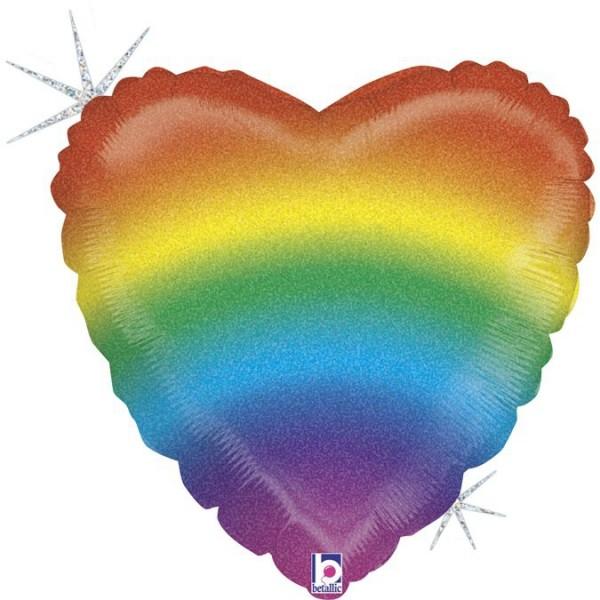 """Betallic Folienballon Glitter Rainbow Heart Holographic 45cm/18"""""""