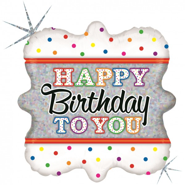 "Betallic Folienballon Happy Birthday To You Holo 46cm/18"""