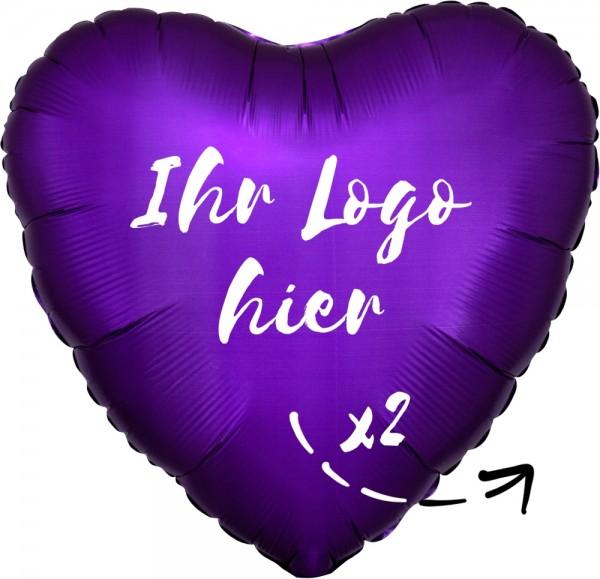 "Folien-Werbeballon Herz Satin Luxe Purple Royale 45cm/18"" 2-Seitig bedruckt"