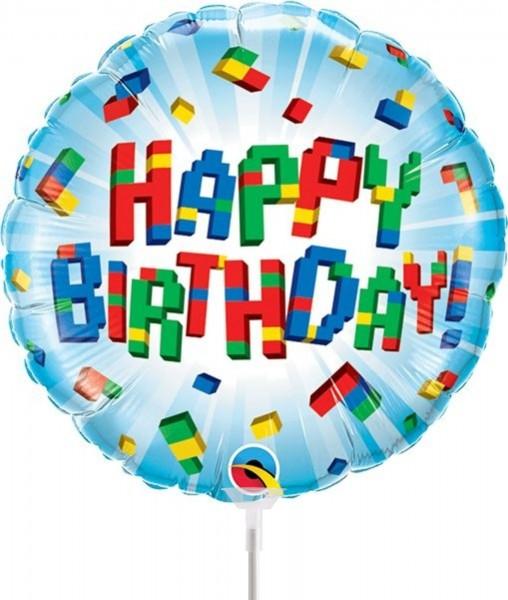 "Qualatex Folienballon Birthday Exploding Blocks 23cm/9"" luftgefüllt mit Stab"