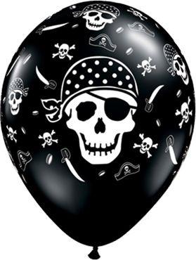 "Qualatex Latexballon Pirate Skull & Cross Bones Onyx Black 28cm/11"" 6 Stück"