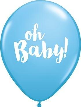 "Qualatex Latexballon Oh Baby! Pale Blue 28cm/11"" 25 Stück"