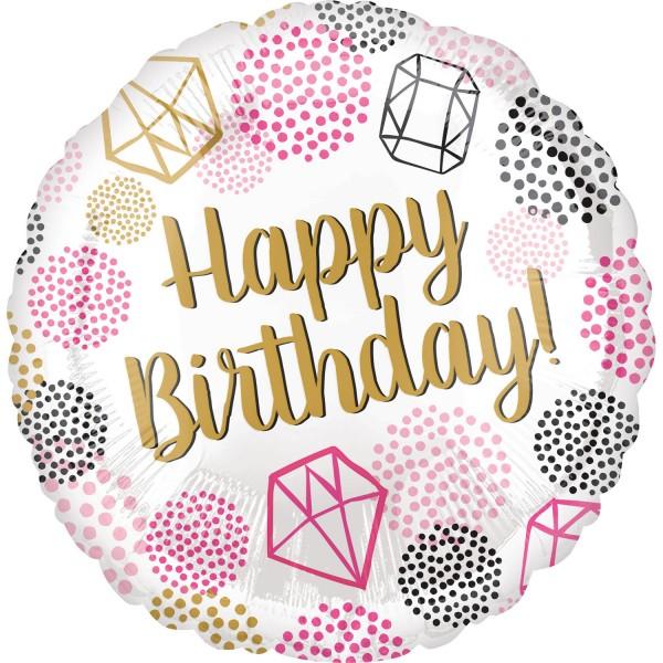 "Anagram Folienballon Rund ""Happy Birthday"" Gems 45cm/18"""