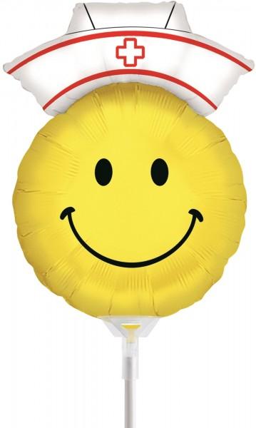 "Betallic Folienballon Smiley Nurse Mini 35cm/14"" luftgefüllt inkl. Stab"
