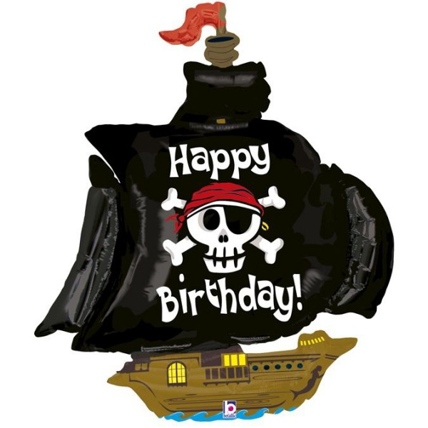 "Betallic Folienballon Happy Birthday Pirate Ship 117cm/46"""