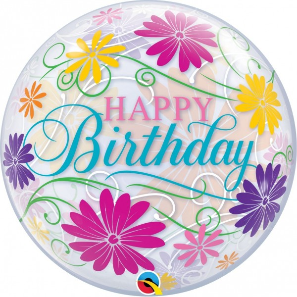 "Qualatex Bubbles Birthday Flowers & Filigree 55cm/22"""