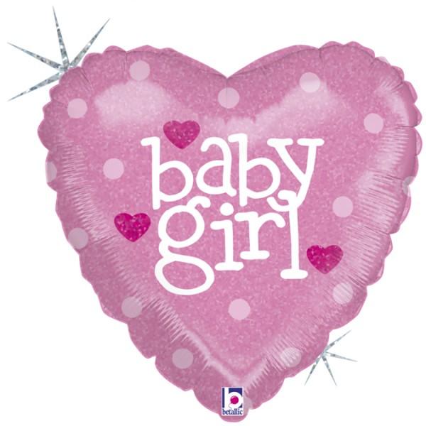 "Betallic Folienballon Herz Baby Girl Holo 45cm/18"""