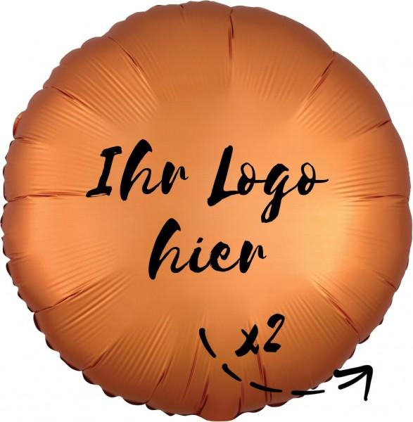 """Folien-Werbeballon Rund Satin Luxe Amber 45cm/18"""" 2-Seitig bedruckt"""