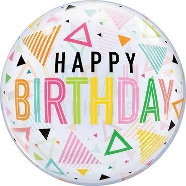 "Qualatex Bubbles Birthday Rainbow Triangles 55cm/22"""