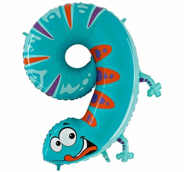 "Grabo Folienballon Zahl 9 Animaloon Gecko 100cm/40"""