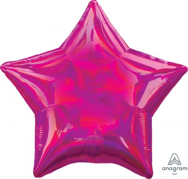 "Anagram Folienballon Stern Iridescent Fuchsia Holo 45cm/18"""