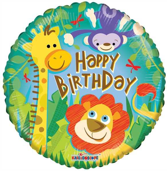"Kaleidoscope Folienballon ""Happy Birthday - Dschungel"" 45cm/18"""