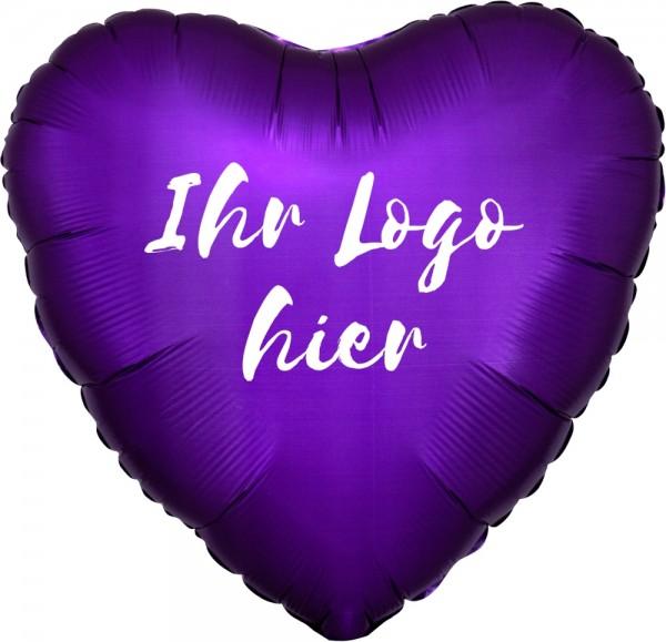 "Folien-Werbeballon Herz Satin Luxe Purple Royale 45cm/18"" 1-Seitig bedruckt"