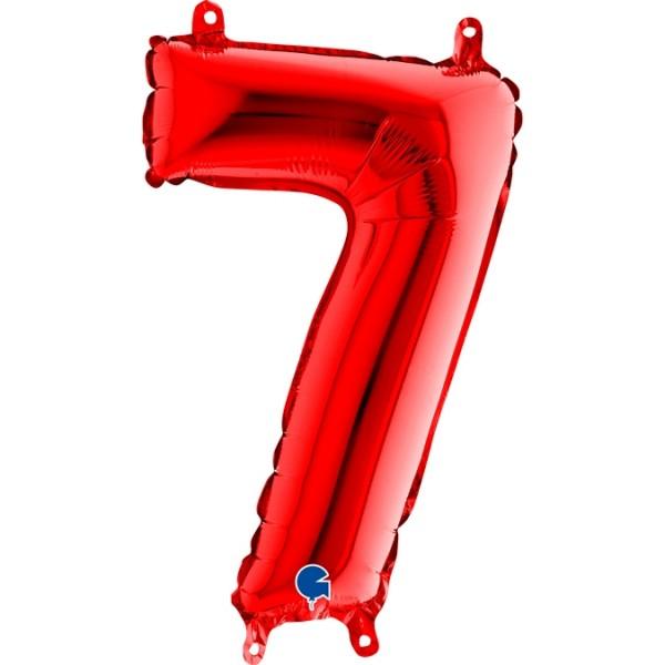 "Grabo Folienballon Zahl 7 Red 36cm/14"""