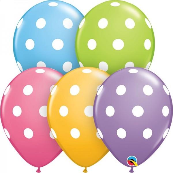 "Qualatex Latexballon Big Polka Dots 28cm/11"" 25 Stück"