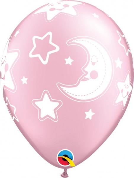 "Qualatex Latexballon Baby Moon & Stars Rosa 28cm/11"" 25 Stück"