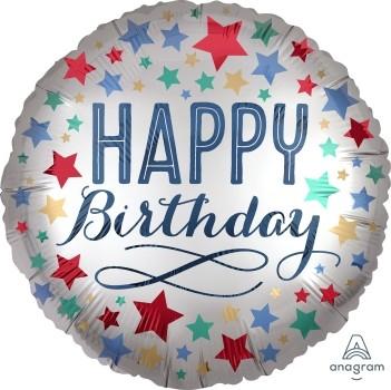 """Anagram Folienballon Rund Satin 30cm Durchmesser """"Happy Birthday"""" Silber & Sterne (Silver & Stars)"""