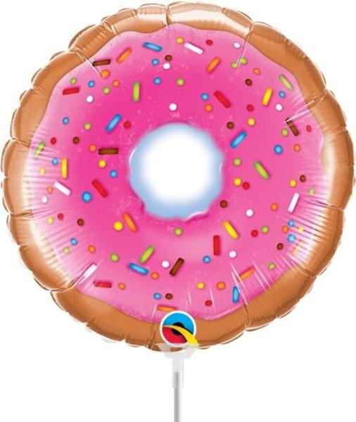 """Qualatex Folienballon Donut 23cm/9"""" luftgefüllt inkl. Stab"""