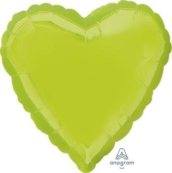 Anagram Folienballon Herz 45cm Durchmesser Metallic Hellgrün (Kiwi Green)