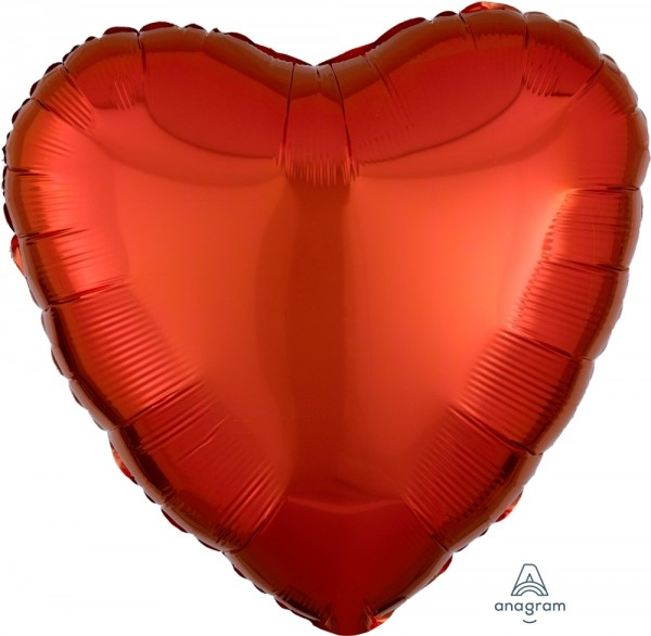 "Anagram Folienballon Herz Metallic Orange 45cm/18"""