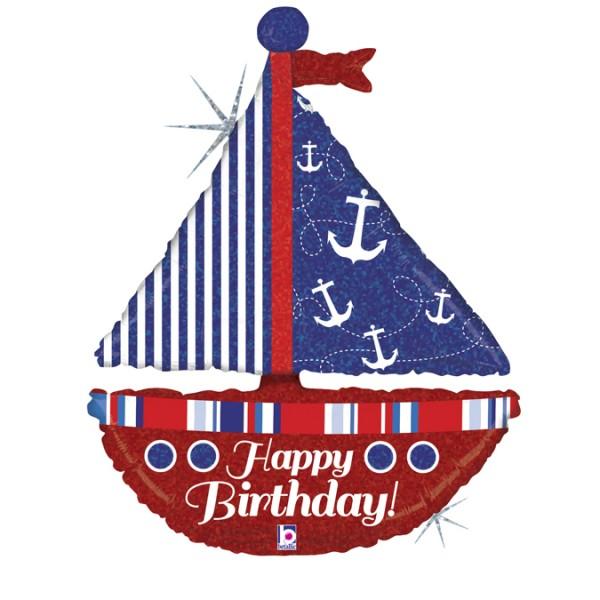 "Betallic Folienballon Nautical Birthday Sailboa Holo 37"""