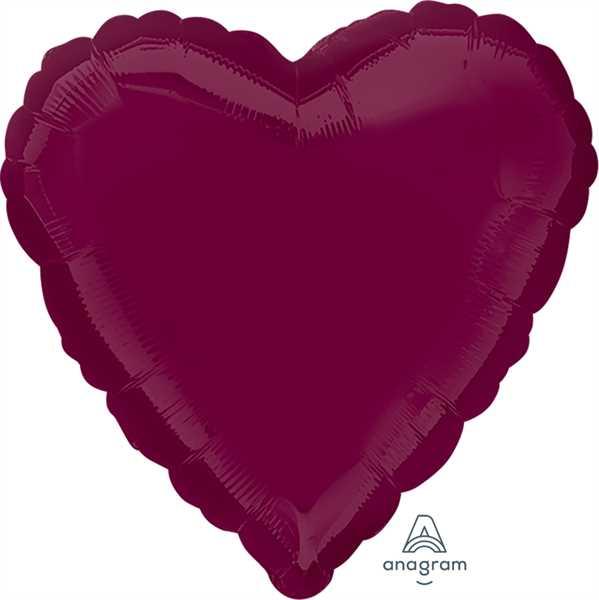 "Anagram Folienballon Herz Weinrot (Berry) 45cm/18"""