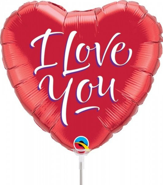 "Qualatex Folienballon I Love You Script Heart 23cm/9"" luftgefüllt inkl. Stab"
