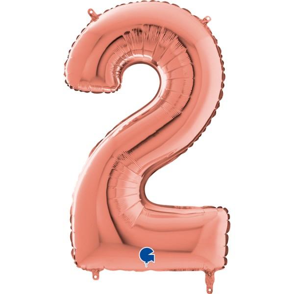 """Grabo Folienballon Zahl 2 Rose Gold 66cm/26"""""""