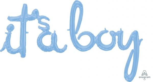 "Anagram Folienballon SuperShape Schrift Girlande ""It's a boy"" Hellblau (Pastel Blue) 141x131cm/56x52"""