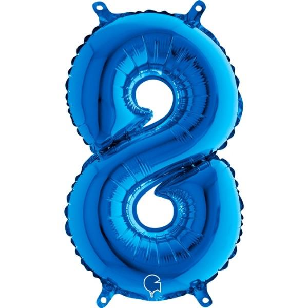 "Grabo Folienballon Zahl 8 Blue 36cm/14"""