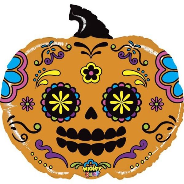 """Betallic Folienballon Mighty Pumpkin Sugar Skull 70cm/28"""""""