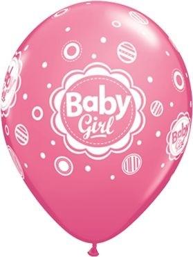 "Qualatex Latexballon Baby Girl Dots Rose 28cm/11"" 6 Stück"