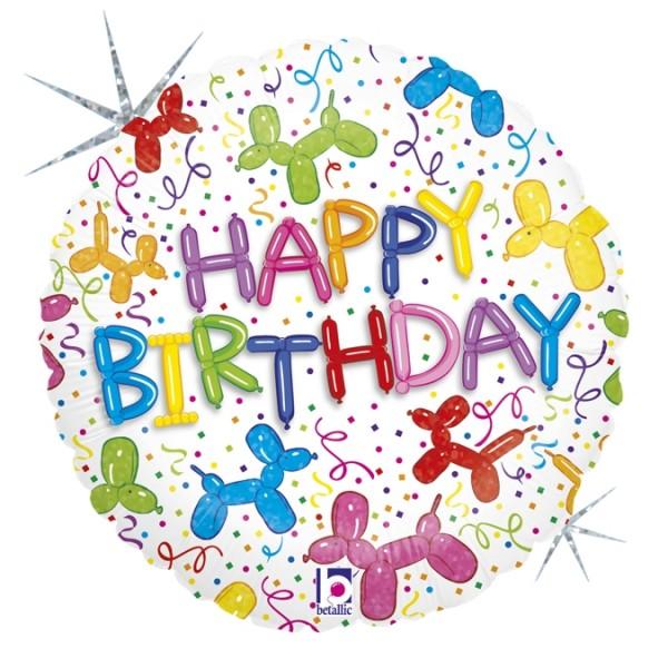 """Betallic Folienballon Balloon Dog Birthday 45cm/18"""""""