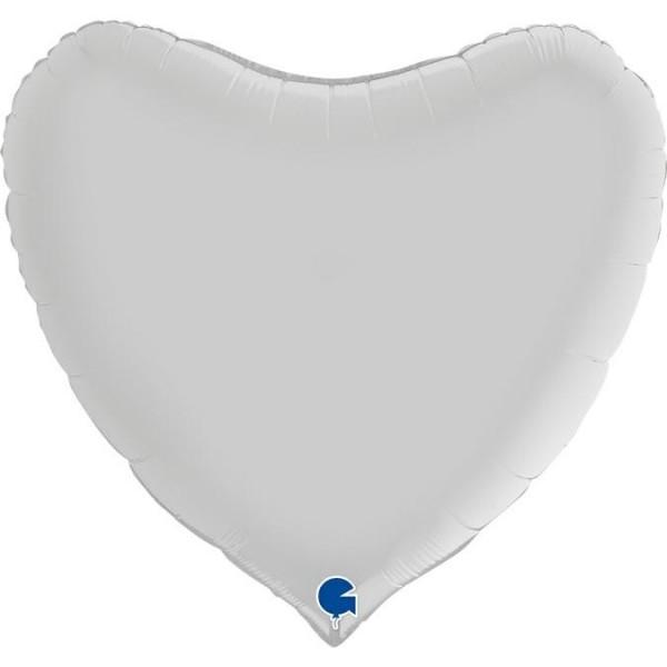 "Grabo Folienballon Heart Satin White 90cm/36"""