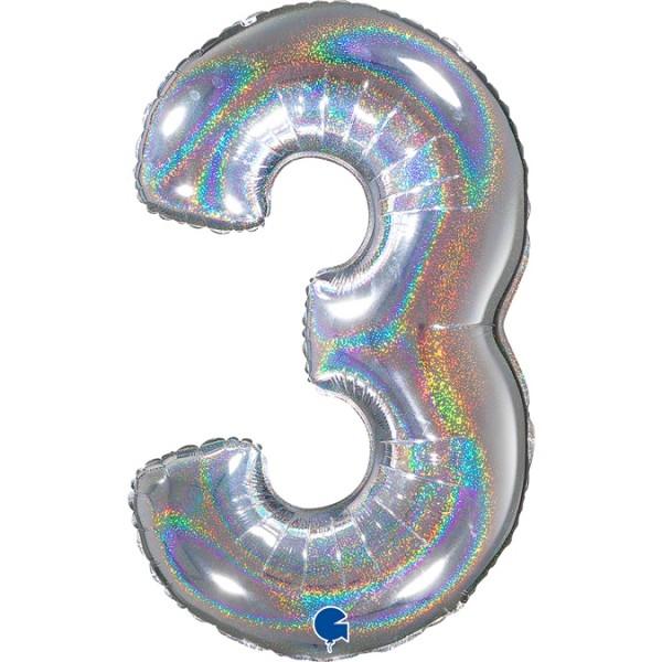 """Grabo Folienballon Zahl 3 Glitter Holographic Silver 66cm/26"""""""